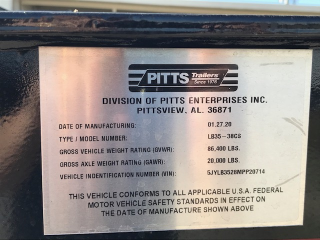 New 2021 PITTS TRAILERS LB35